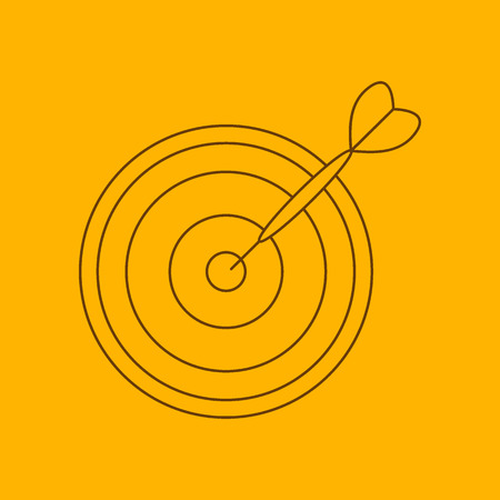 bull rings: Darts line icon, thin contour on yellow background Illustration