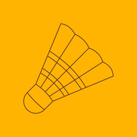badminton sport symbol: Badminton shuttlecock line icon, thin contour on yellow background
