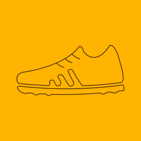 outsole: Football boots line icon, thin contour on yellow background