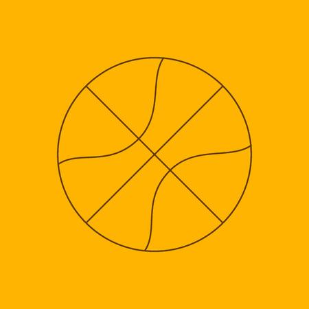 the contour: Basketball line icon, thin contour on yellow background