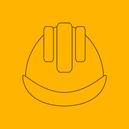 defensive: Building helmet line icon, thin contour on yellow background