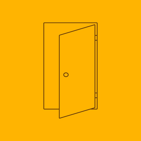 door: Door line icon, thin contour on yellow background