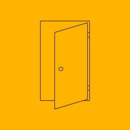 puerta: Icono de la l�nea de puerta, contorno delgado sobre fondo amarillo