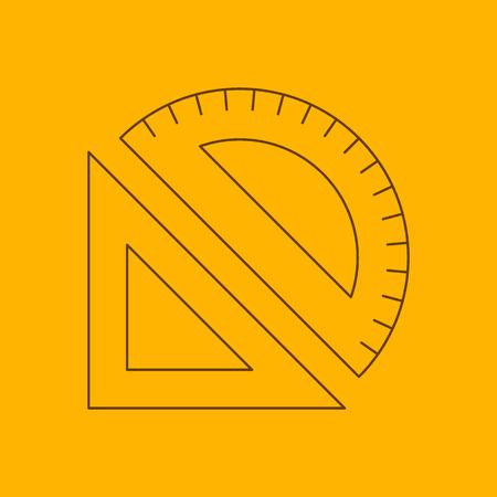 measuring instruments: Measuring instruments line icon, thin contour on yellow background