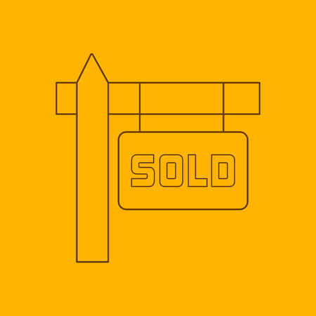 sold sign: Sold sign line icon, thin contour on yellow background Illustration
