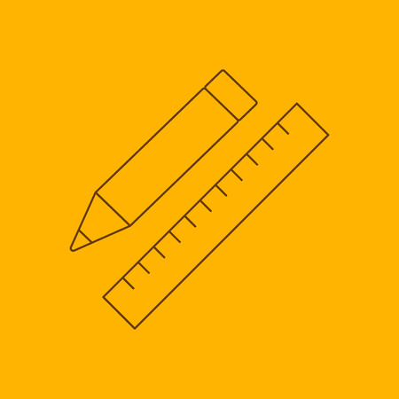 line work: Pencil with ruler line icon, thin contour on yellow background