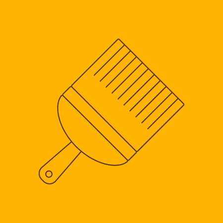 the contour: Paint brush line icon, thin contour on yellow background