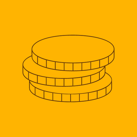 rouleau: Coins line icon, thin contour on yellow background Illustration