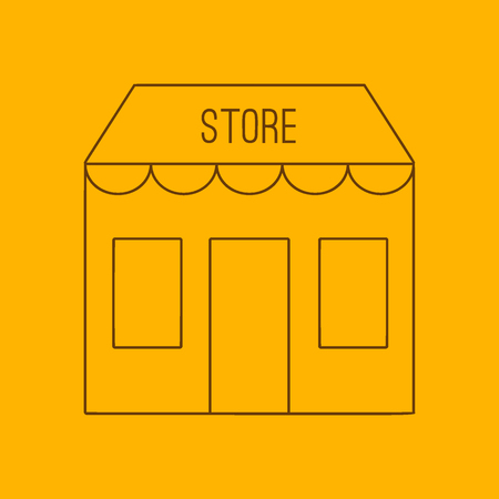 specialty store: Store building line icon, thin contour on yellow background