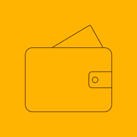 foldable: Wallet line icon, thin contour on yellow background