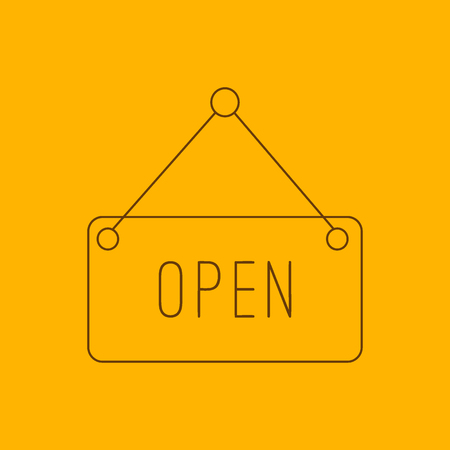 door bolt: Open hanging sign line icon, thin contour on yellow background