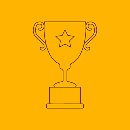 trofeo: Trofeo icono de l�nea de la taza, el contorno delgado sobre fondo amarillo