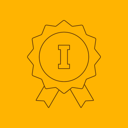 1st place: 1st place ribbon line icon, thin contour on yellow background
