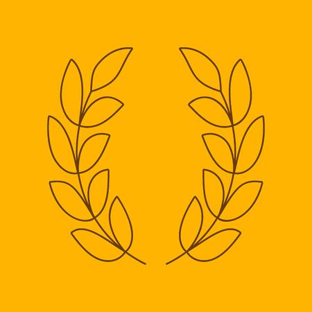 poetic: Laurel wreath line icon, thin contour on yellow background Illustration