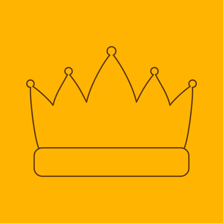 beauty contest: Crown line icon, thin contour on yellow background