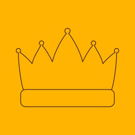 legitimacy: Crown line icon, thin contour on yellow background