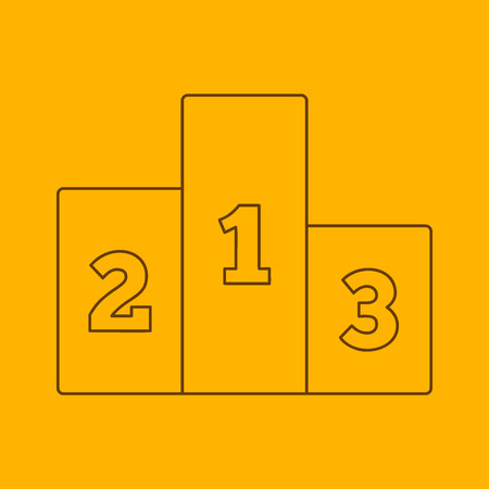 two page: Pedestal line icon, thin contour on yellow background