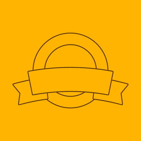 Label with ribbon line icon, thin contour on yellow background Illustration