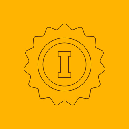 1st place: 1st place rosette line icon, thin contour on yellow background