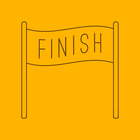 endpoint: Finish banner line icon, thin contour on yellow background