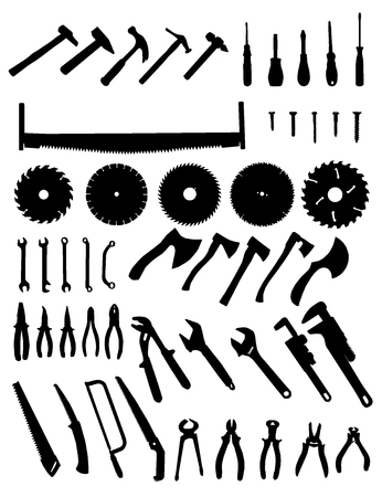 cutting tool: Big tools silhouette set, collection of black images on white background Illustration