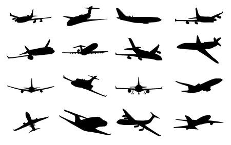 비행기 실루엣 세트, 흰색 배경에 검은 색 이미지의 컬렉션 일러스트