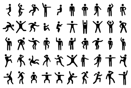 stretches: 50 stick figure set, person in different sport poses on white background