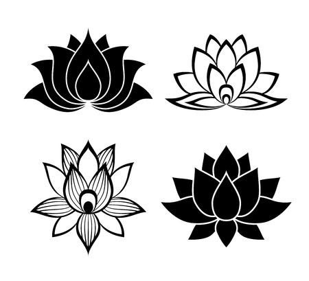 water lilies: Lotus flower signs set for the perfect web design