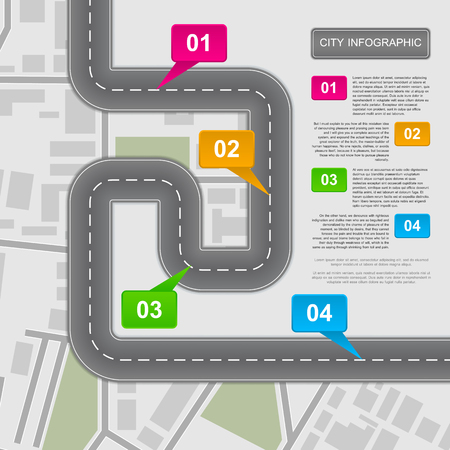 roads: Presentation template with a road and four marked spots