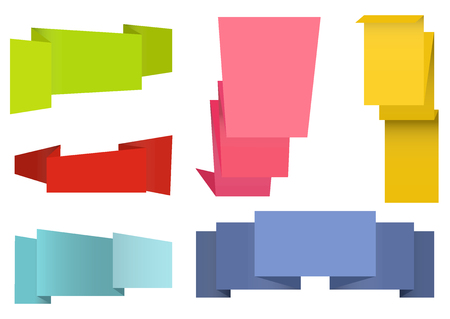empty box: Origami labels set for your design. Six colored banners