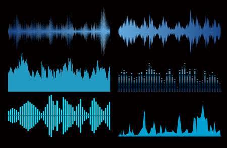 sonic: Sound waves set on black background. Best music signs Illustration