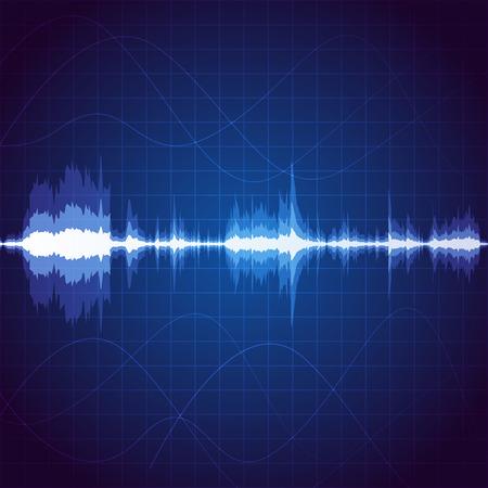 デジタル サウンド ウェーブ、ユニークな音楽のパルスの背景  イラスト・ベクター素材
