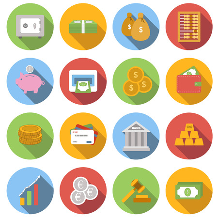 bag icon: Money Flat icon set for web and mobile application