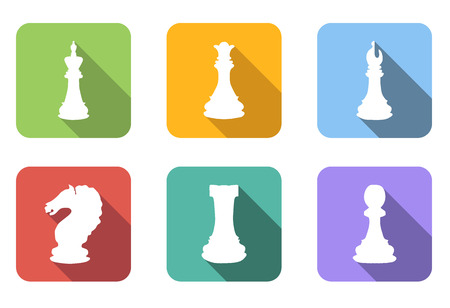 strategical: Chess flat icons set isolated on a white