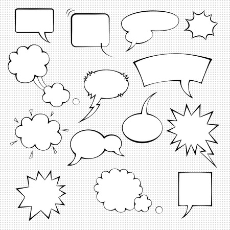 unexpected: Comic speech bubble set, monochrome templates on dotted background