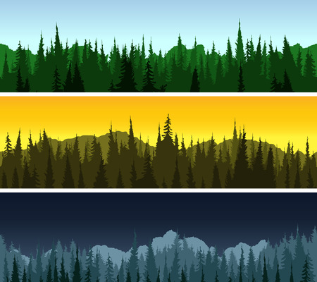 night view: Forest panorama set, three forest patterns with different light and day time. Patterns Illustration