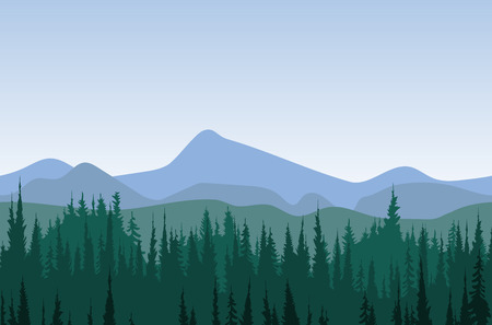blue green landscape: Forest mountain panorama. morning or day time woods with mountains behind. Pattern Illustration