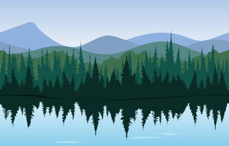 Waldpanorama, morgens oder Tageszeit Wald mit See vor und hinter den Bergen. Muster Standard-Bild - 46524100