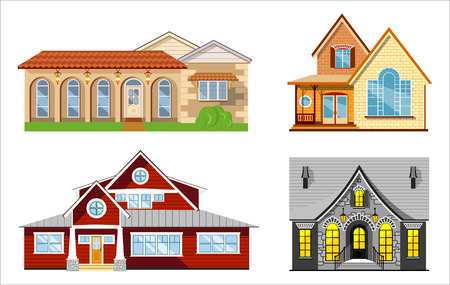 porch: House illustration set, four flat colored houses on white background