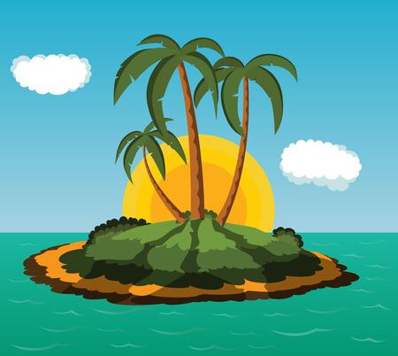 desert island: Desert island with palm trees at sunrise