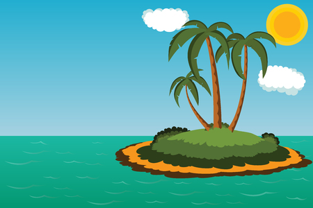 arboles caricatura: Isla desierta con palmeras con lugar para el texto y logotipo Vectores