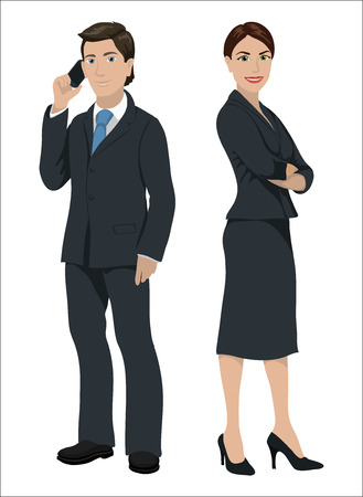 woman tie: European business people. Man and woman in official suits, isolated on white Illustration