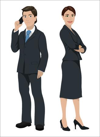 traje formal: hombres de negocios europeos. El hombre y la mujer en juegos oficiales, aislado en blanco