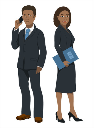 black woman: Black afroamerican business people. Man and woman in official suits, isolated on white