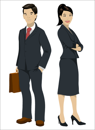 asian business people: Asian business people. Man and woman in official suits, isolated on white