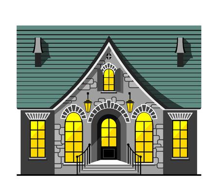 nice house: Nice house flat object isolated on white background