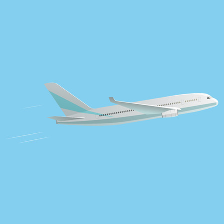 air liner: Passenger Airplane isolated on blue background. Best illustration