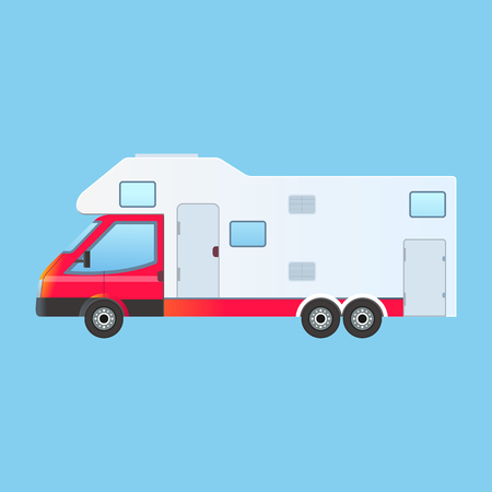 family park: Camping RV trailer family caravan. Traveler truck camper flat style icon isolated on blue background Illustration