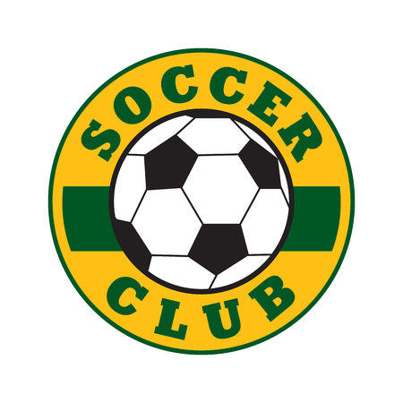 soccer club: Soccer club sign, colored emblem on white background