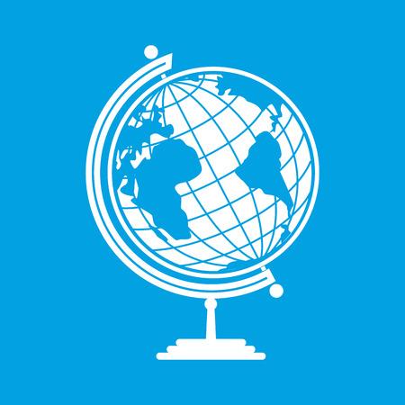 globe terrestre dessin: White Earth globe isolé sur fond bleu